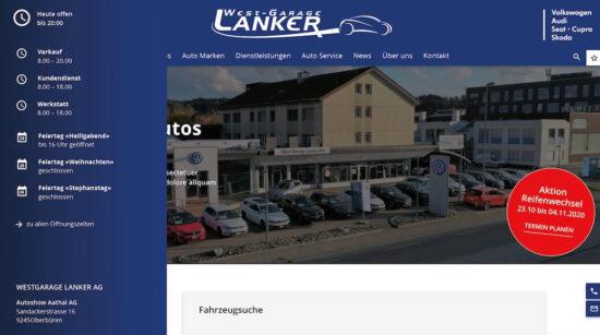 Neue Homepage der Westgarage Lanker AG - Westgarage Lanker AG 1